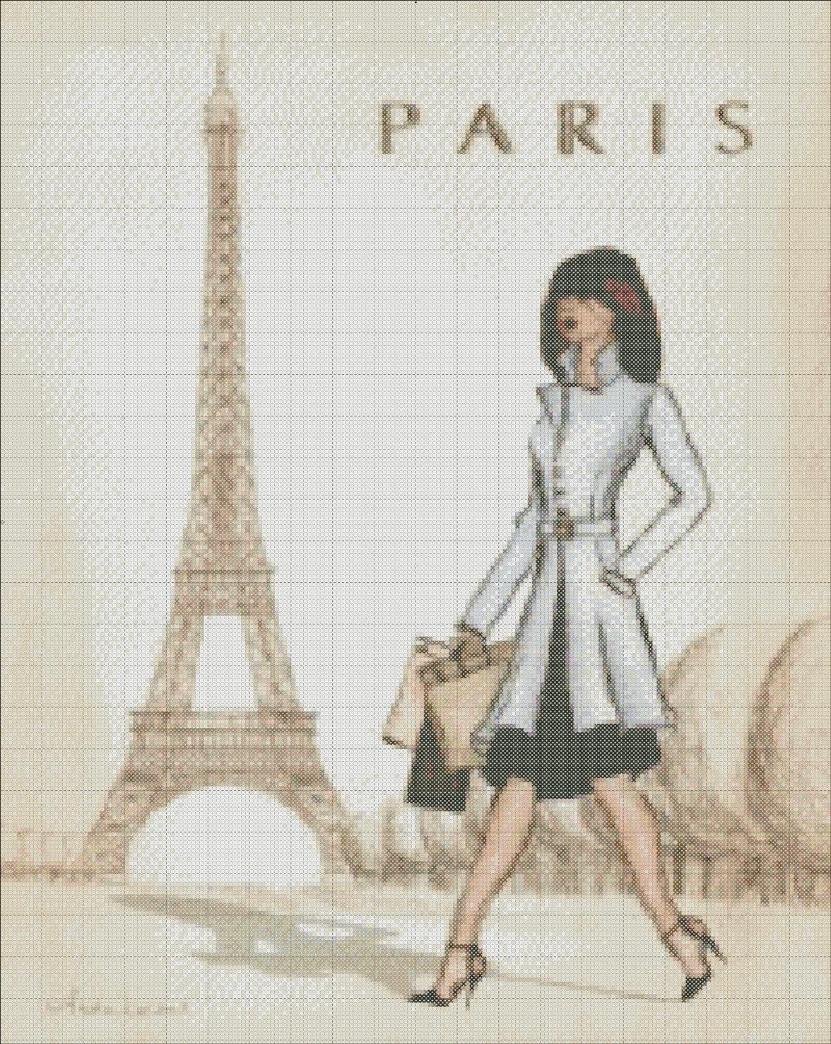 Париж парижские девушки города Handmade PDF Cross Stitch Pattern вязания крючком Афганские ручная вышивка иглой Craft