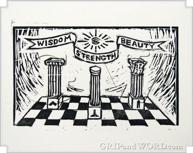 The Great Pillars - Freemason Linocut Artist's Proof