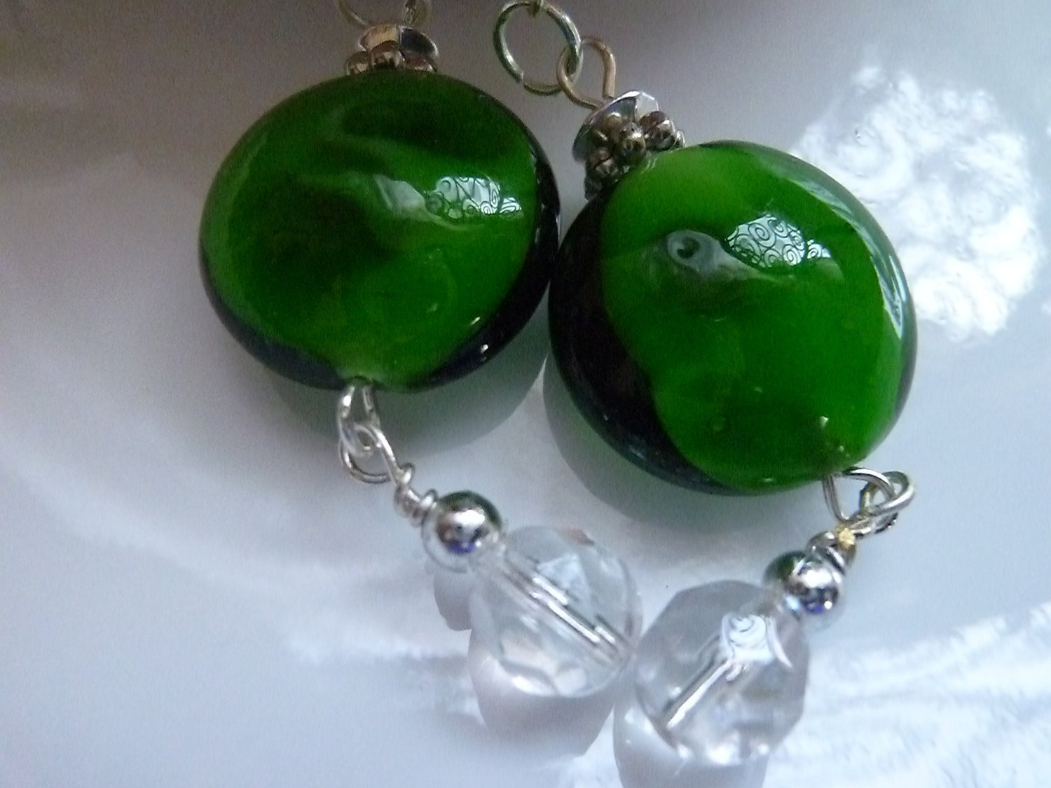 Little Lollipop Green Glass Bead Earrings with silver metal fish hook wire