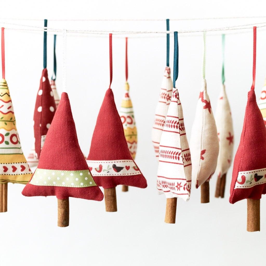 Primitive Decorazione albero di Natale Ornamento Hanging scandinavo serie Stripe di 3