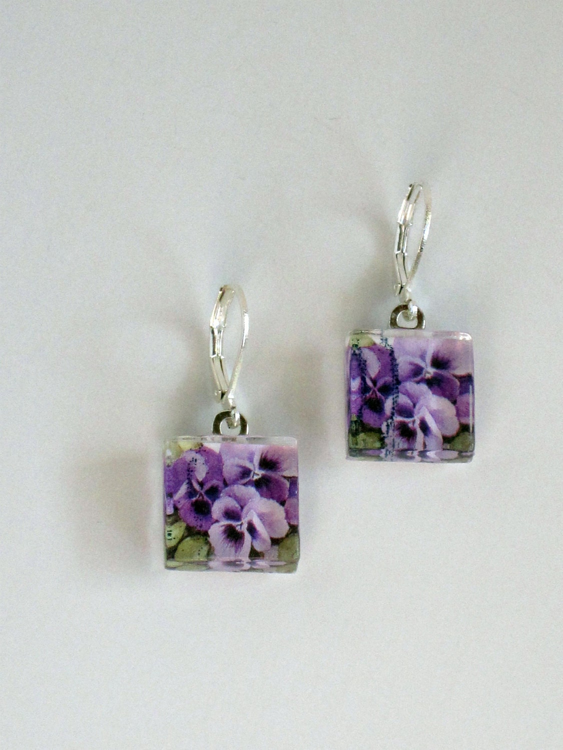 2010 Purple Pansy Love Postage Stamp Glass Tile Dangle Earrings