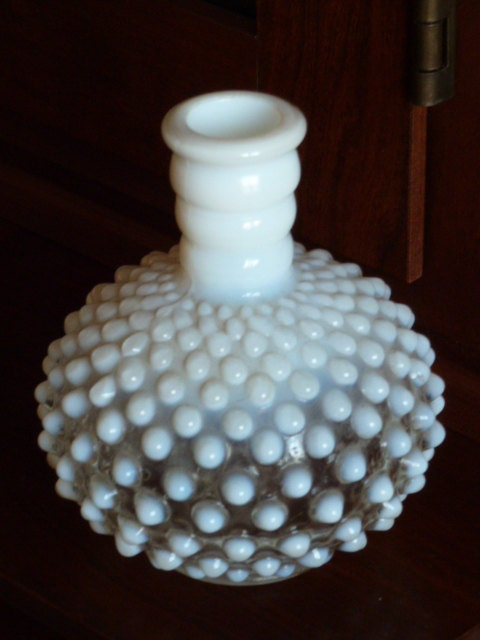 BLACK FRIDAY Etsy - Vintage  Moonstone Pattern Opalescent Perfume Bottle - ooak - MercysVintageHome