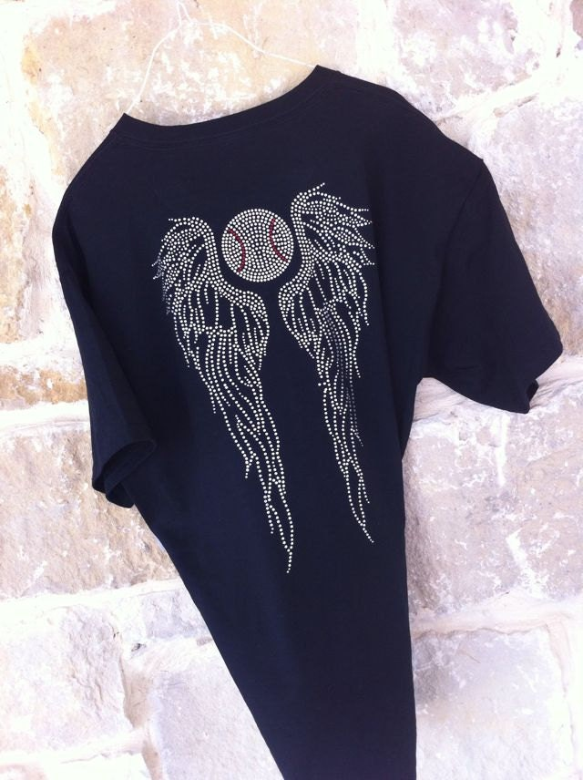 Rhinestone Baseball and Angel Wing T-Shirt