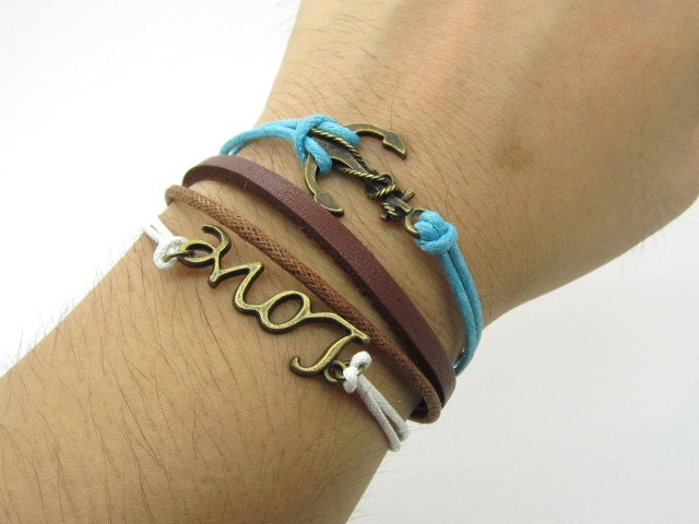 Bronze leather bracelet  Anchor bracelet made of brown leather cord and  cotton rope  LL593