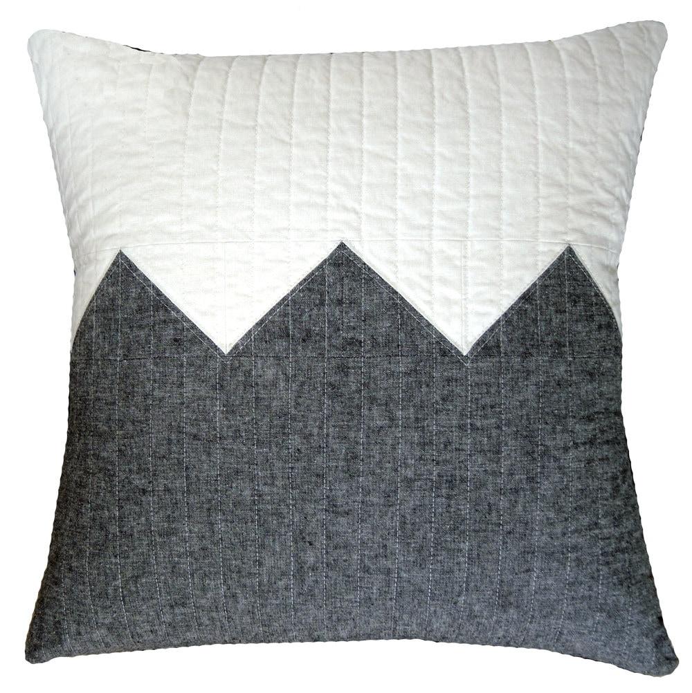 Modern Decorative Pillow - Big Grey Zig - Linen Blend - bperrino