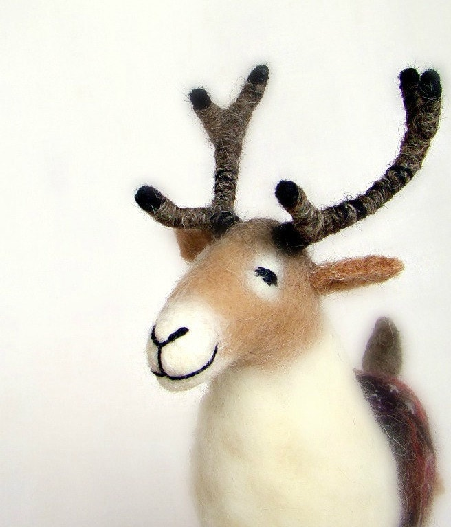 Gunnolf - Felt Reindeer. Art Puppet, Marionette, Stuffed Animal, Felted Toy. MADE TO ORDER