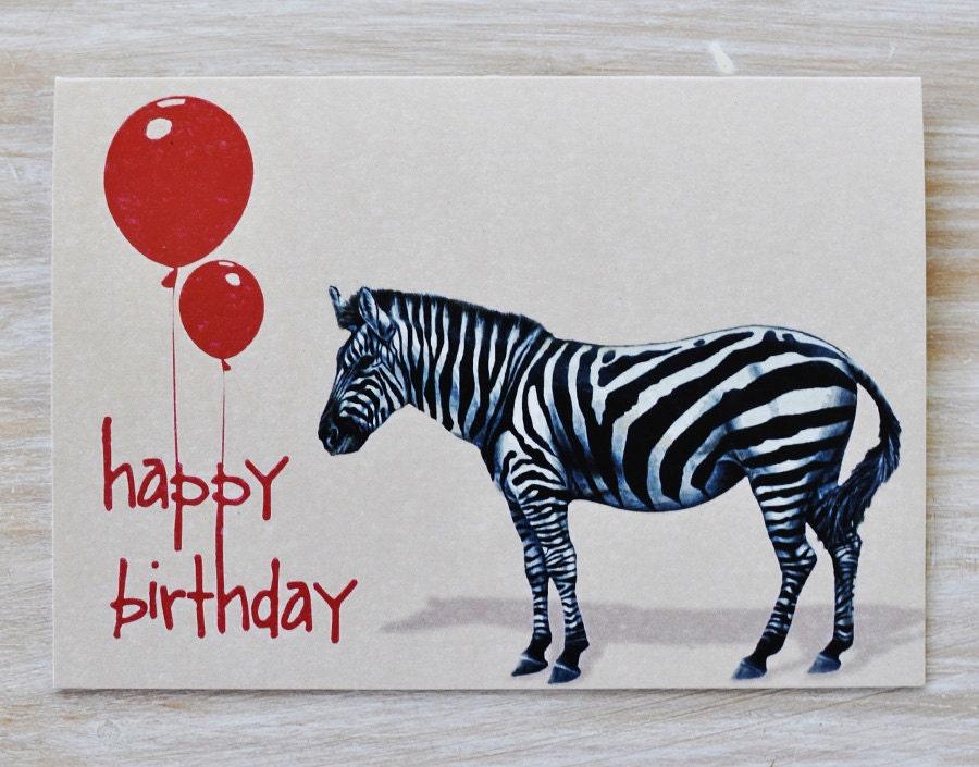 Gift Card - Happy Birthday Zebra