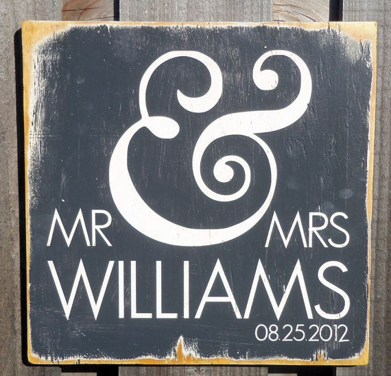 Personalized Typography Wall Art- - Mr & Mrs Wood Sign