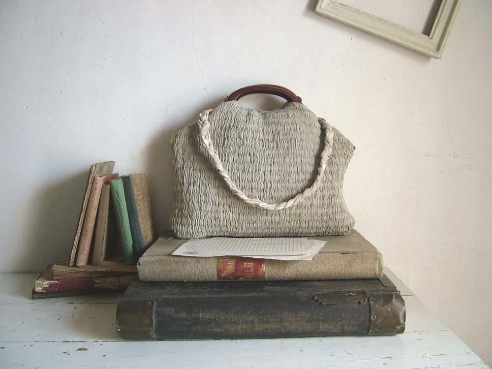 French Market Basket in Handweave and Plaited Leather Shoulder Strap. Made to Order - byloomandhyde