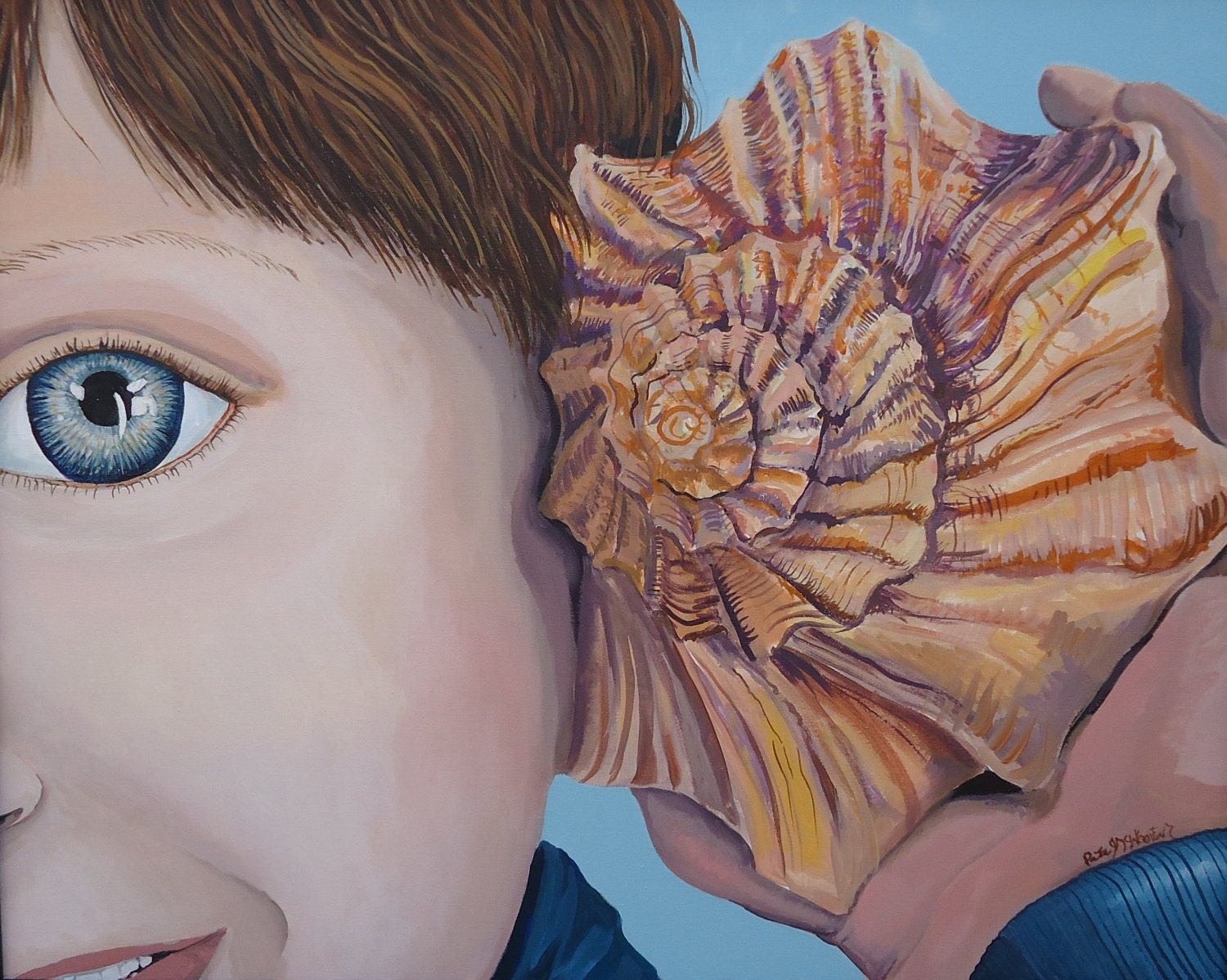 Portrait of Boy with a Shell Phone - PatMcWhorter