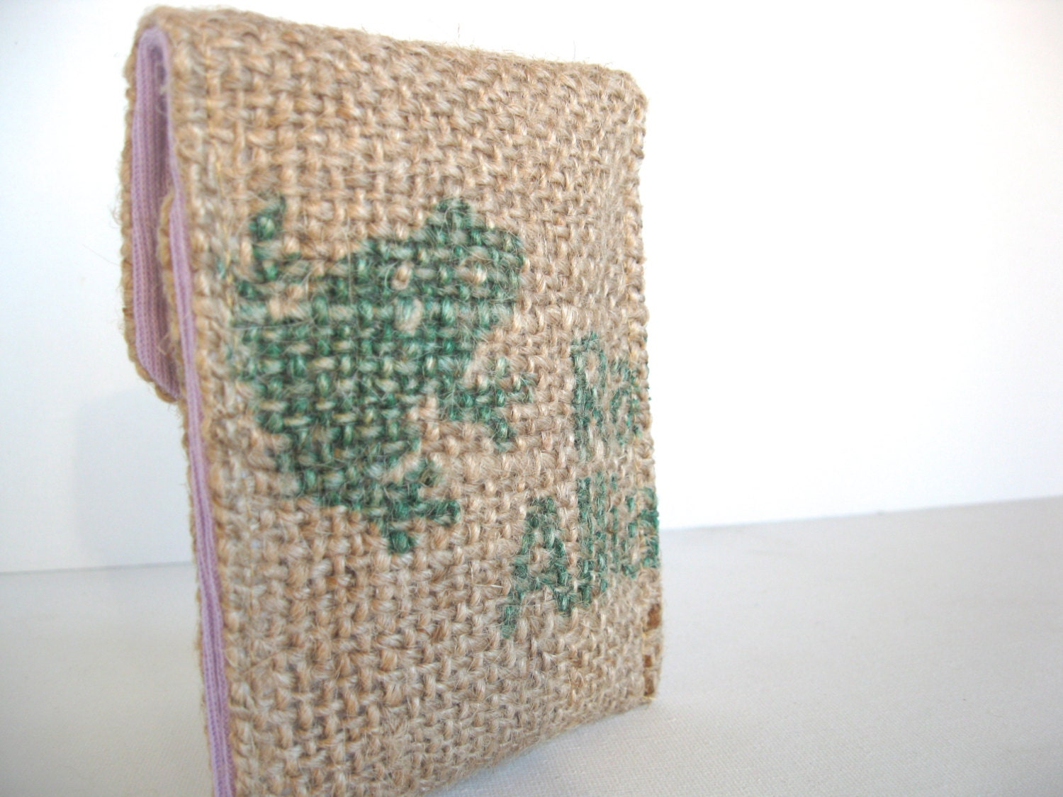 Lavender. Eco Friendly. Iphone. Cozy. Upcycled. Burlap. Tshirt. Spring Fashion. Frog. Earth Day. For Her. Mothers Day. Teen.  Gift Idea.