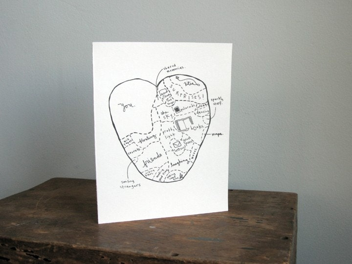 map of my heart valentine - Etsy Valentines Cards