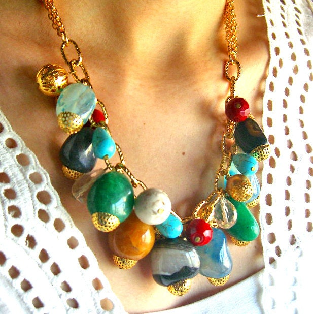 Multicolored statement necklace - bib necklace with gemstone nuggets, onyx beaded stone colorful necklace - red blue green yellow -  rainbow