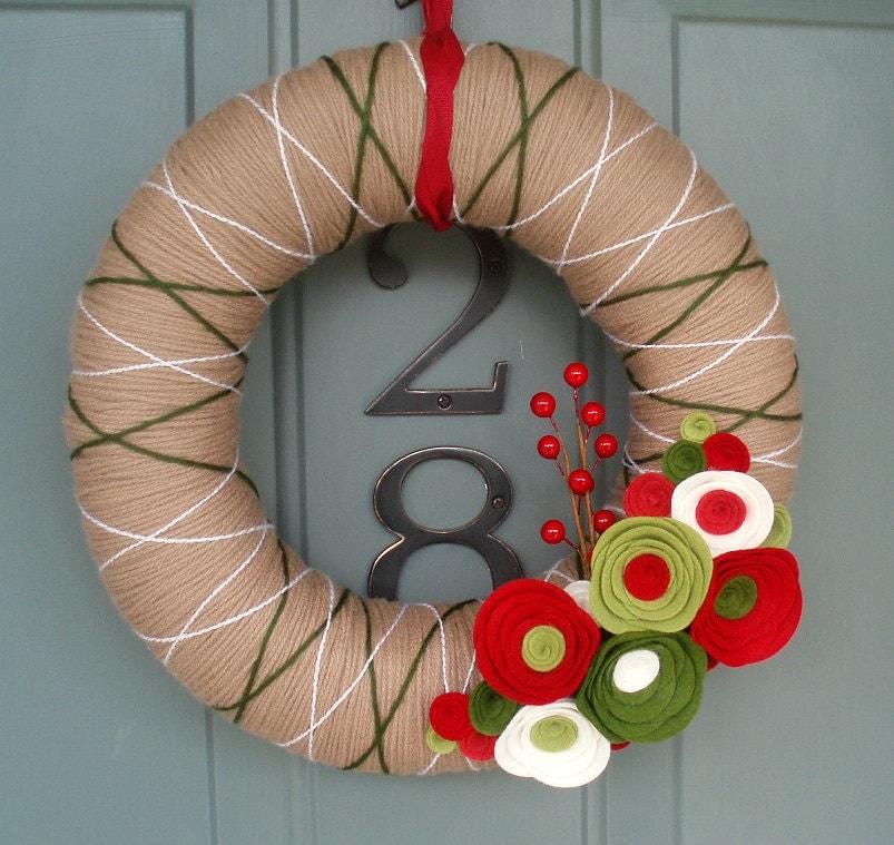 Yarn Wreath Felt Handmade Holiday Door Decoration - Holiday Special 12in