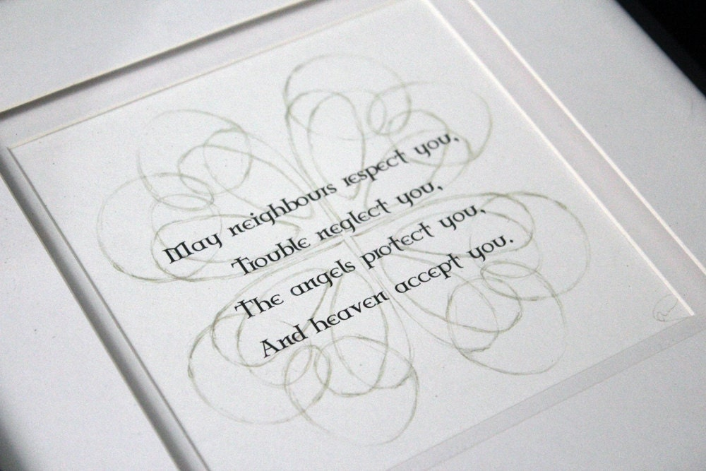 Irish Blessing - choice of 6 verses, or choose your own - Framed Print Picture - Double Matted Black Frame