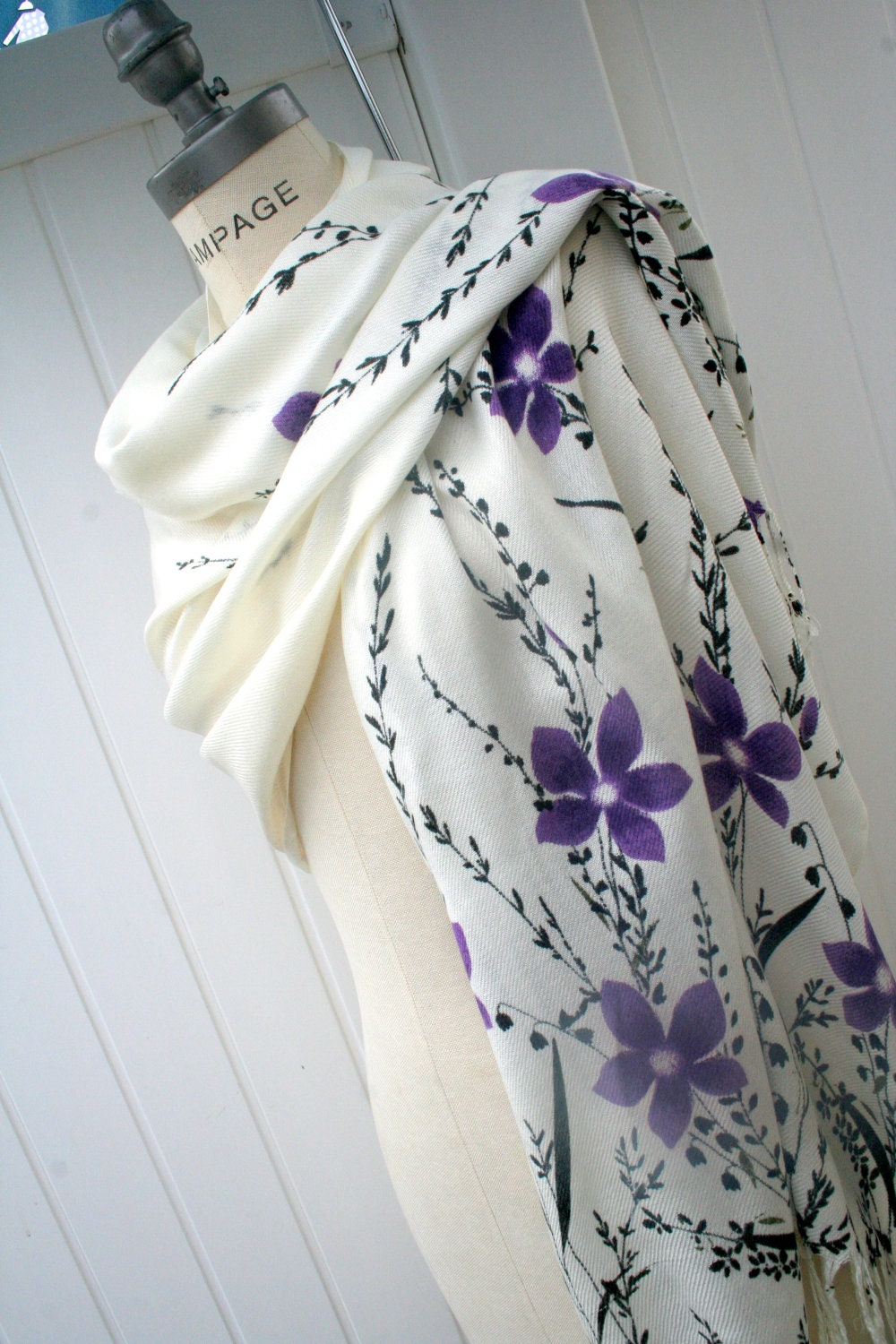 Pashmina Scarf FREE Shipping Purple Black Ivory Floral Pashmina Cozy  Dark Purple Pashmina Scarves