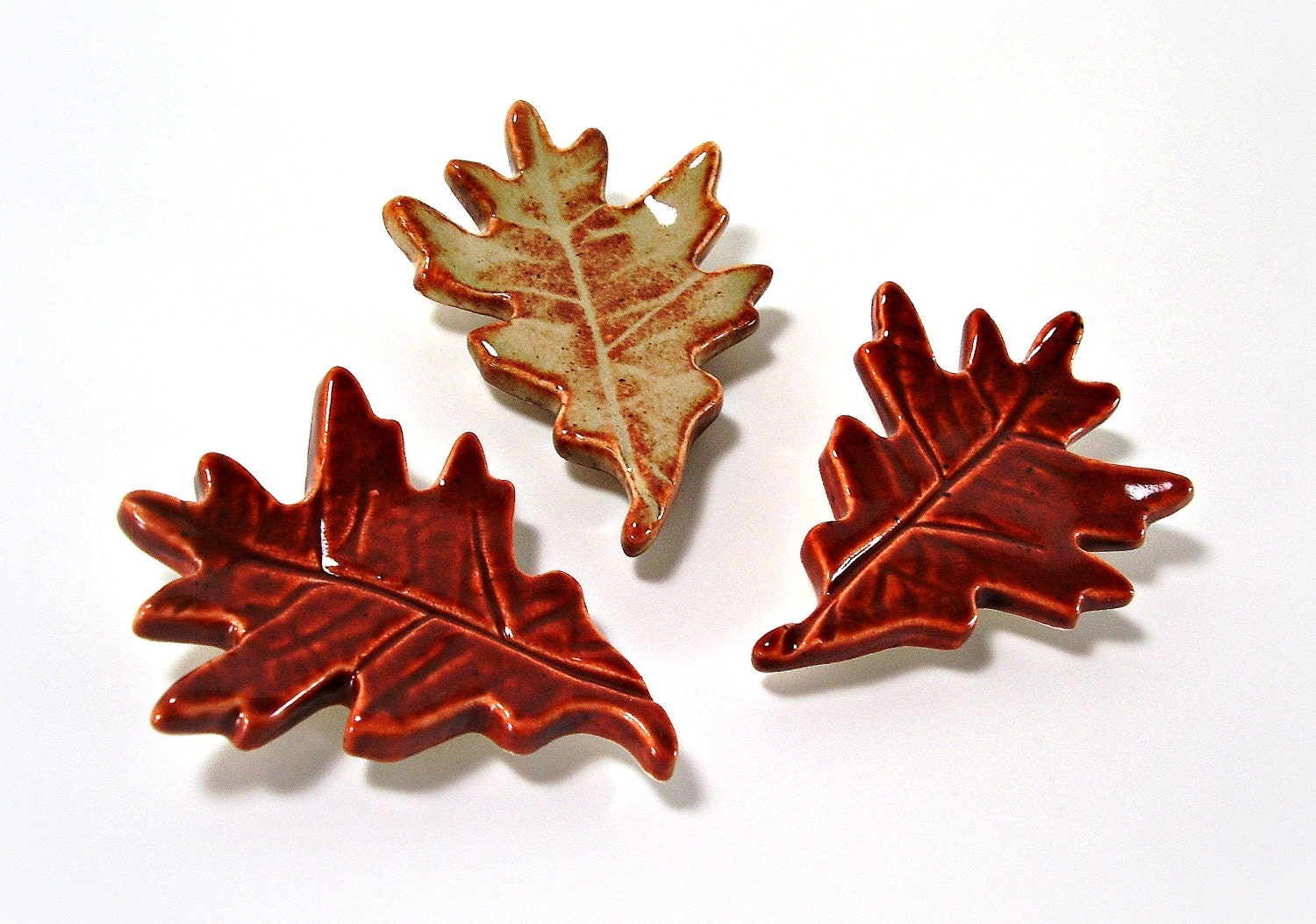 three ceramic pin oak magnets refrigerator memo board gift fall leaves autumn rust and burnt orange handmade pottery - Ravenhillpottery