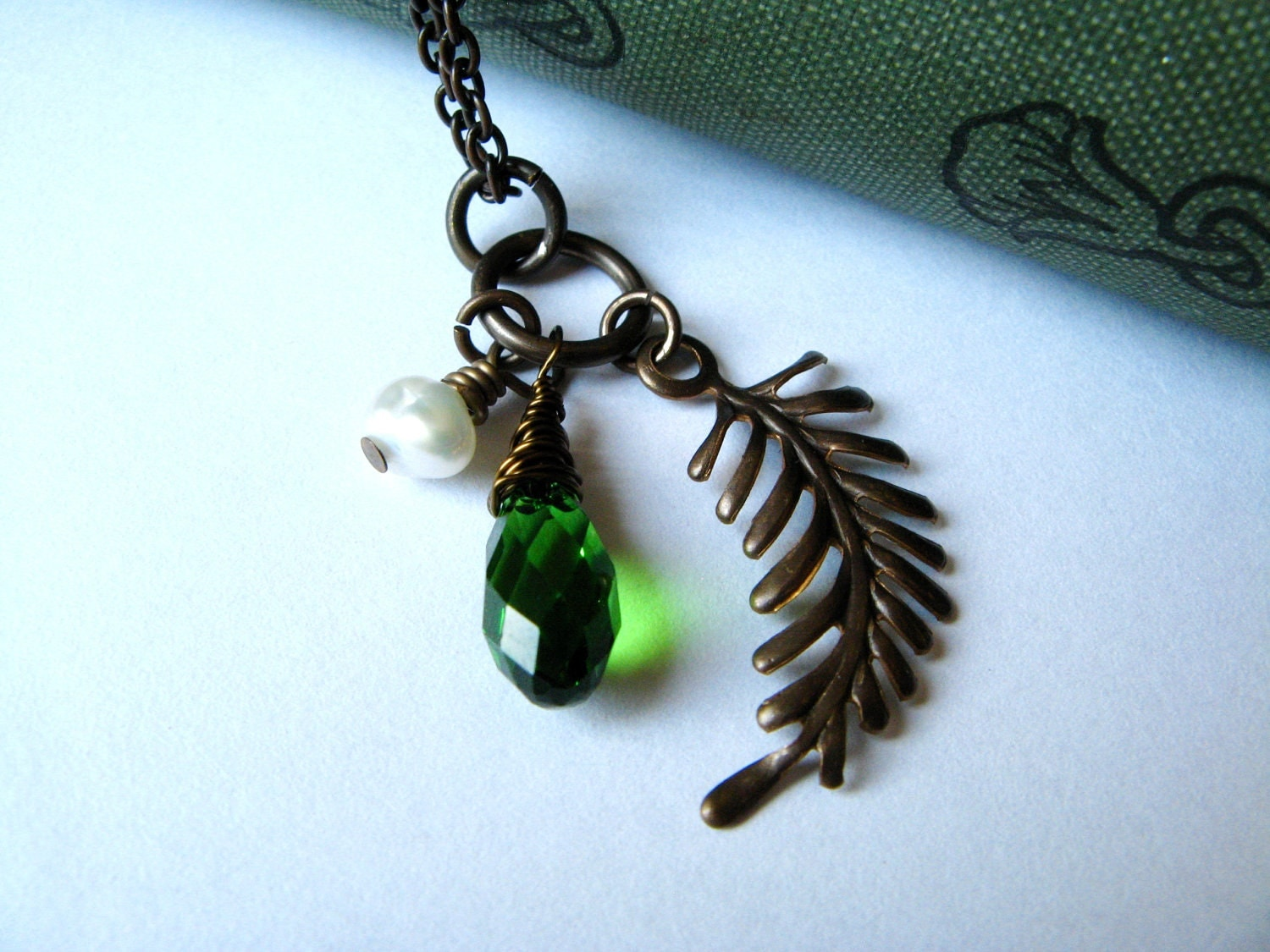 Fern Leaf Pendant with Green Crystal and Freshwater Pearl - Fall Jewelry - RachelRode