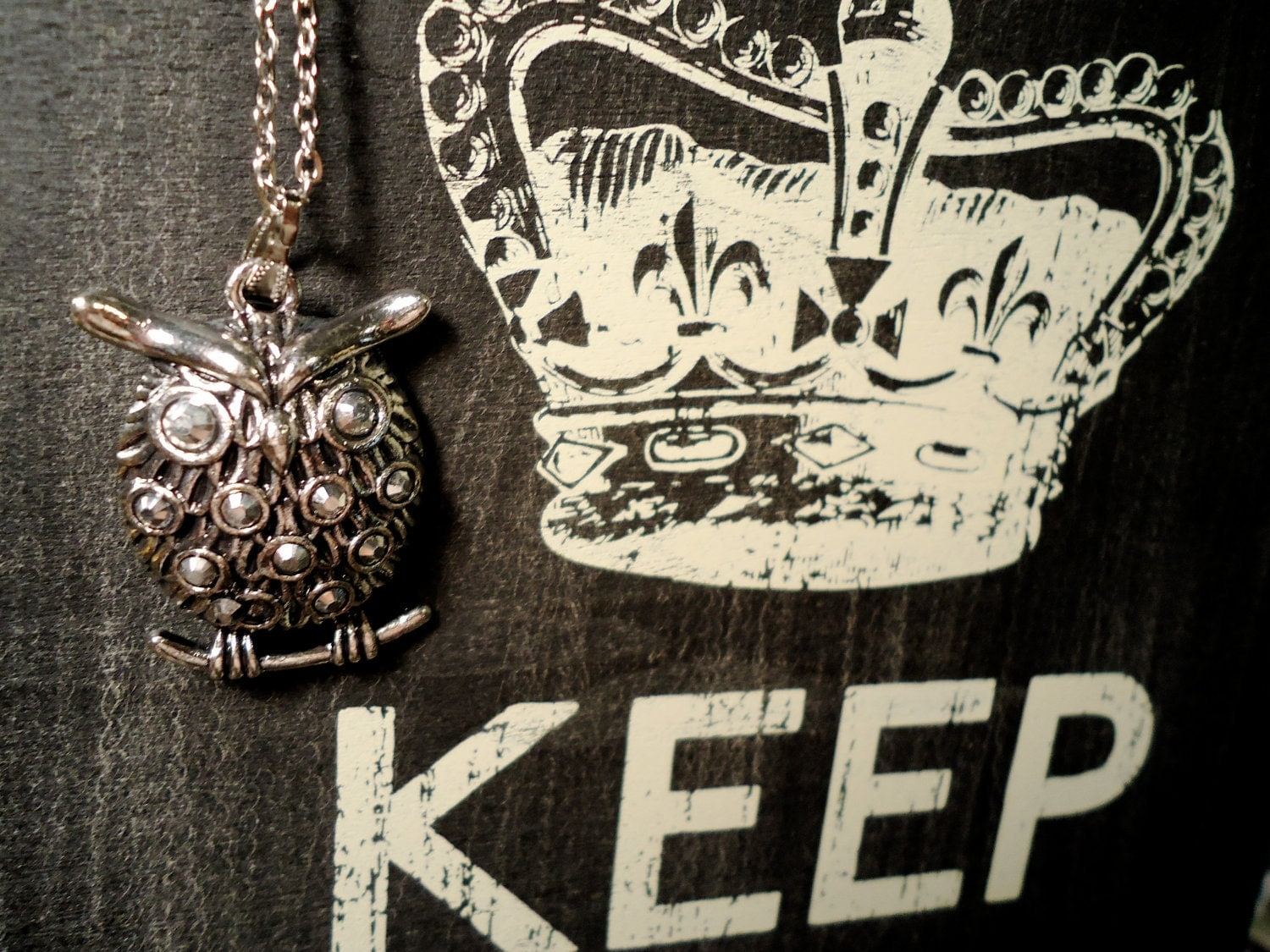 Silver Owl on Branch Charm Necklace