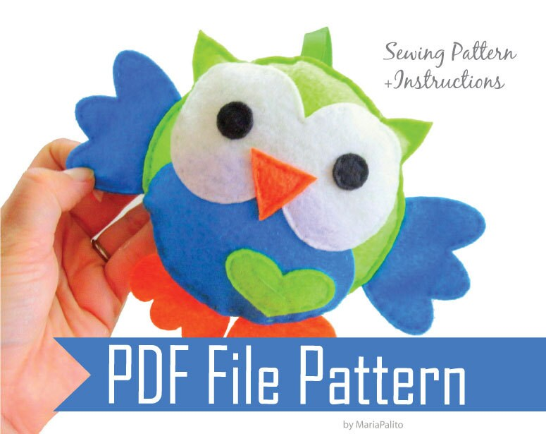Baby Owl PDF Sewing Pattern for Felt Owl Toy A325