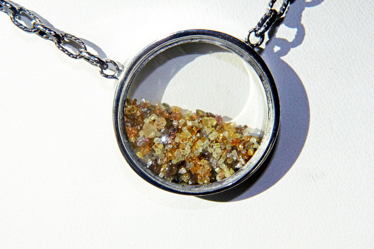 SANDS OF TIME - Rough Diamonds, 24k Yellow gold Flakes, Sterling Silver - metalandstoneelite