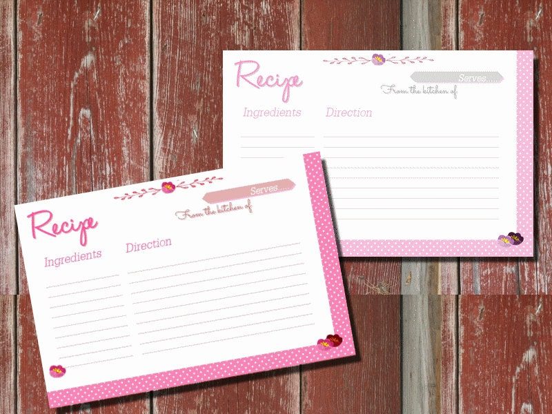 Mother's day, pink polka dot recipes card printable, recipe card download,polka dot recipe card pdf,instant download recipe card - Lovelyprintable