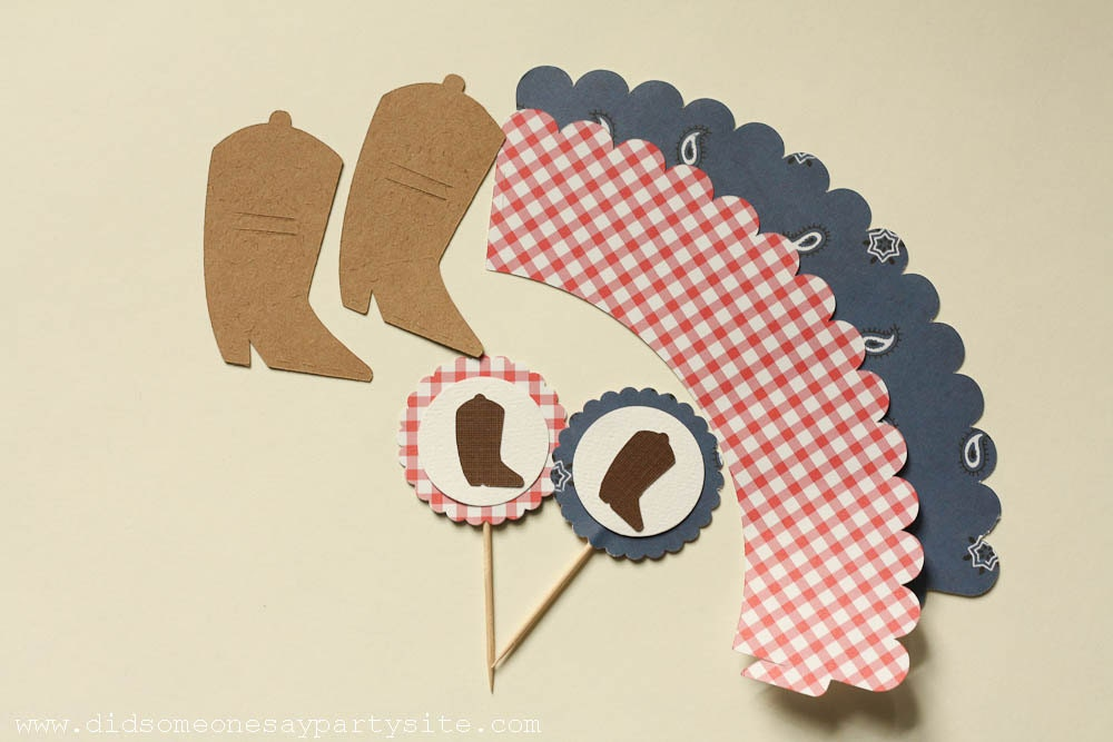 Cowboy Cupcake Wrappers, Cupcake Toppers and Straw Wrappers - FREE SHIPPING