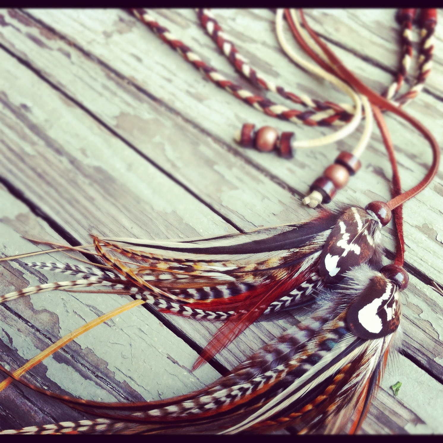 Marvelous braided leather feather headband in natural browns - bdii
