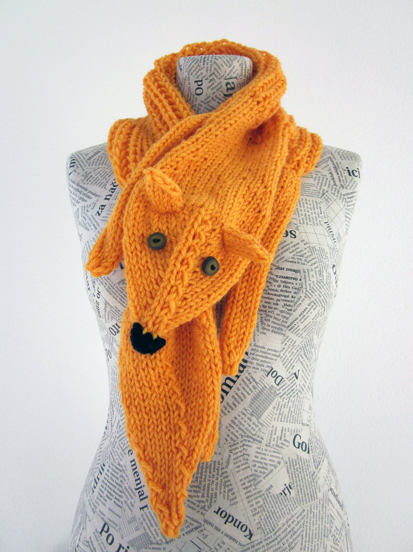 Hand knit fox scarf in yellow orange with polymer clay buttons - AmeBa77