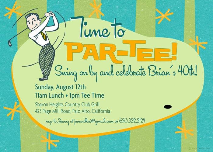 Retro Golf Party Invitation - Birthday, Shower, Any Occasion