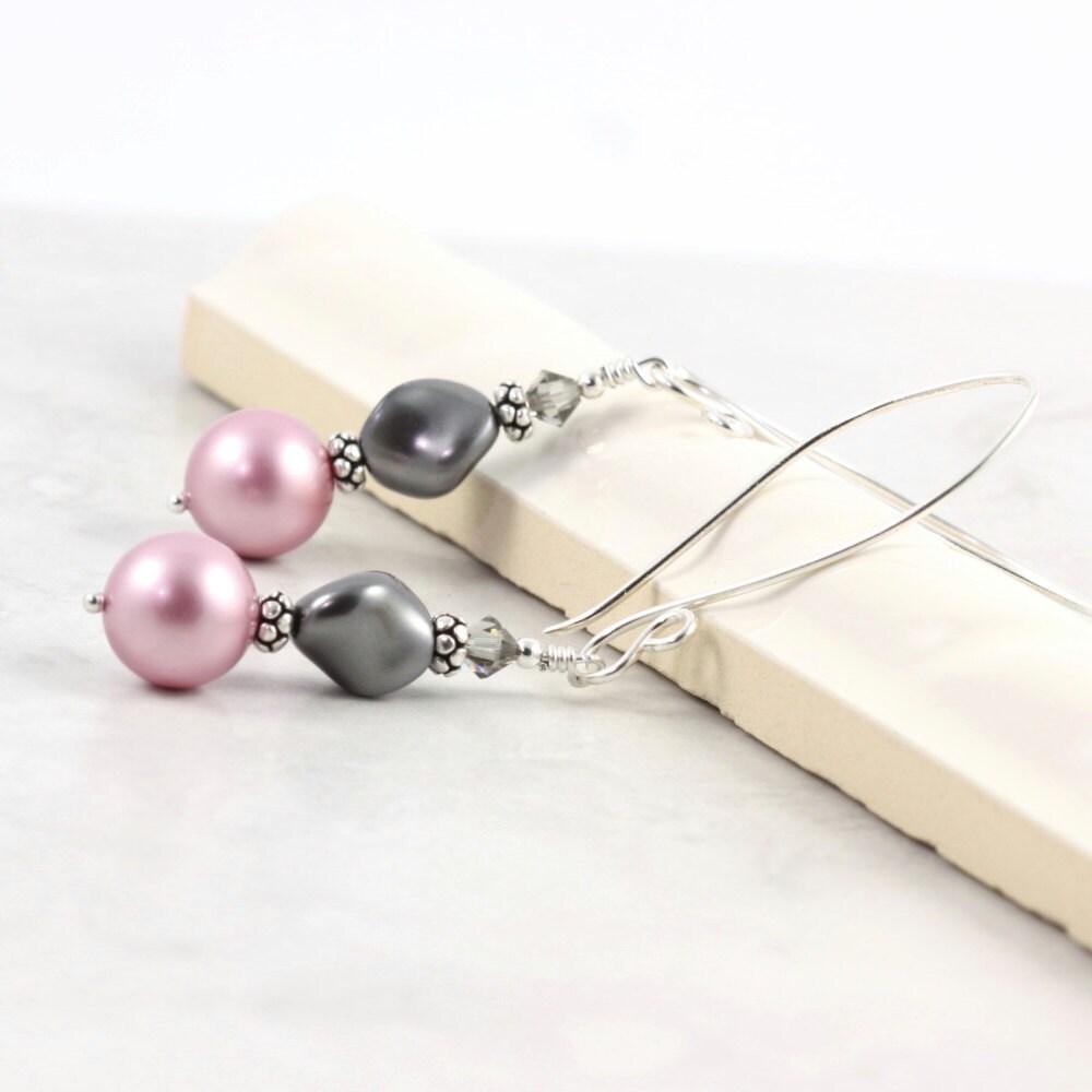Pearl Earrings Pastel Pink Dusty Rose Smoke Gray Mauve Fancy Sterling Silver Ear Wires - AbacusBeadCreations