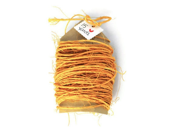 Sisal cord mustard yellow .15 yards . string . rope . 1mm thin. natural . bright twine . wrapping cord . rustic . handmade - TodoPapel