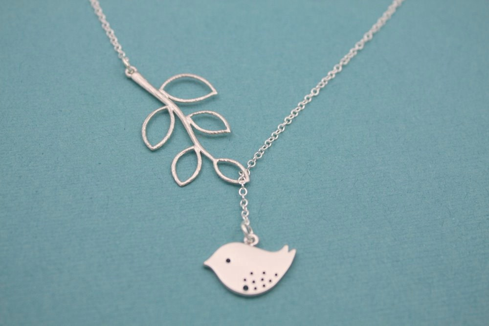 Home - Sterling Silver bird and branch lariat necklace