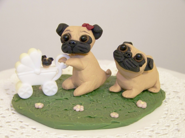 Pug Dog Cake Images : Pin Black And Fawn Pug Dog Lover Wedding Cake Topper ...