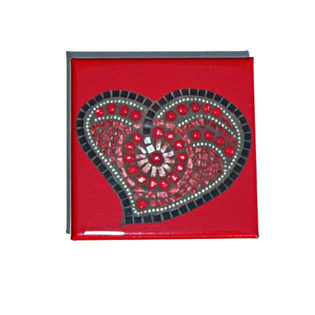 Mosaic Heart Magnet red and black heart design 2 inch square magnet funky heart shape art magnet tt team - FischerFineArts