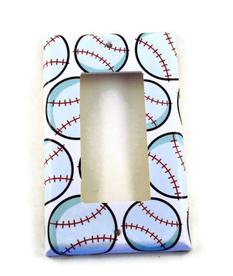 Light Switch Cover Wall Decor Baseball Boys by funkychickendesign