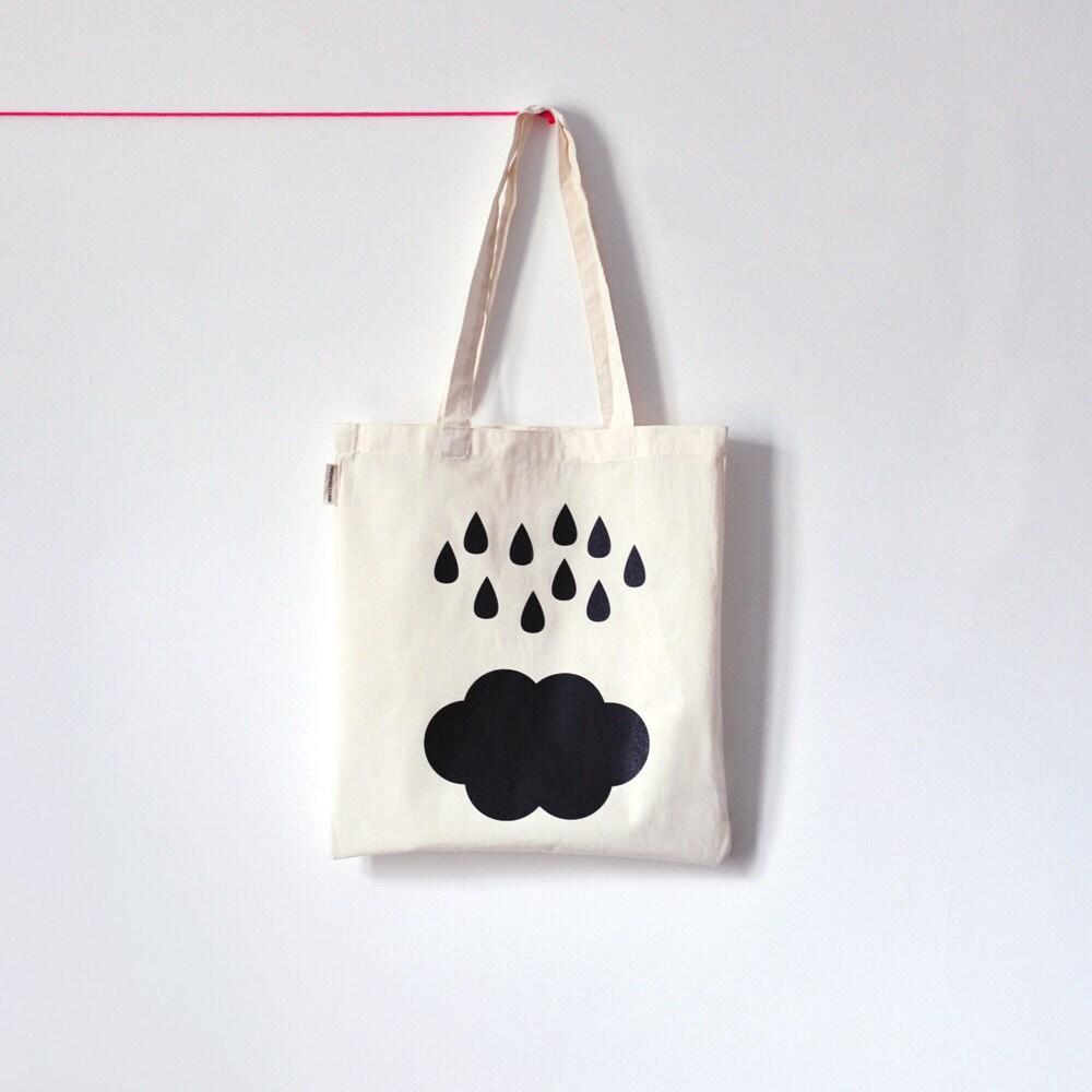 Rain & Cloud . Tote bag en coton biologique sérigraphié