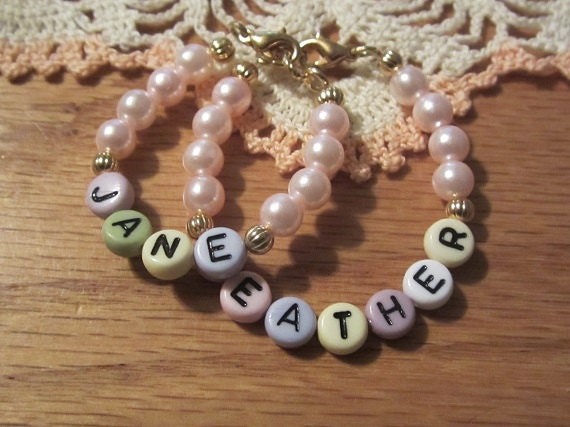Newborn Bracelet Twin Girls /Personalized Twin Girls Bracelet/Godmother Gift/Toddler Personalized Twin Bracelet Twin Girls - roziespearls