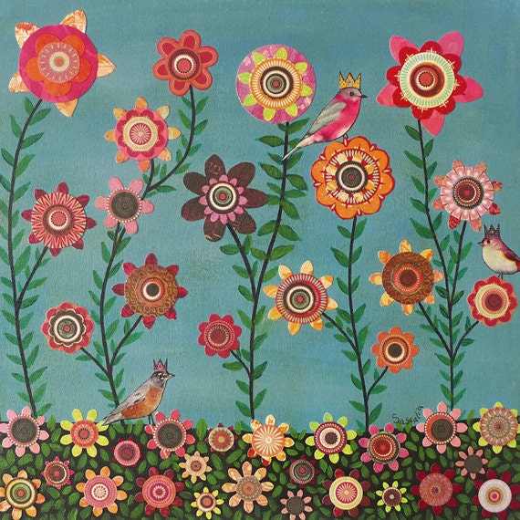 Flower Art Floral Painting Birds and Flowers Collage on Wood - Sascalia