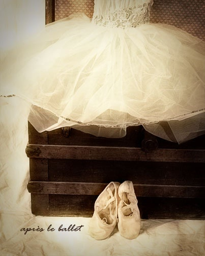 Ballet Dress Photograph nursery little girls slippers dance tutu antique trunk sepia black and white 8x10 - FirstLightPhoto