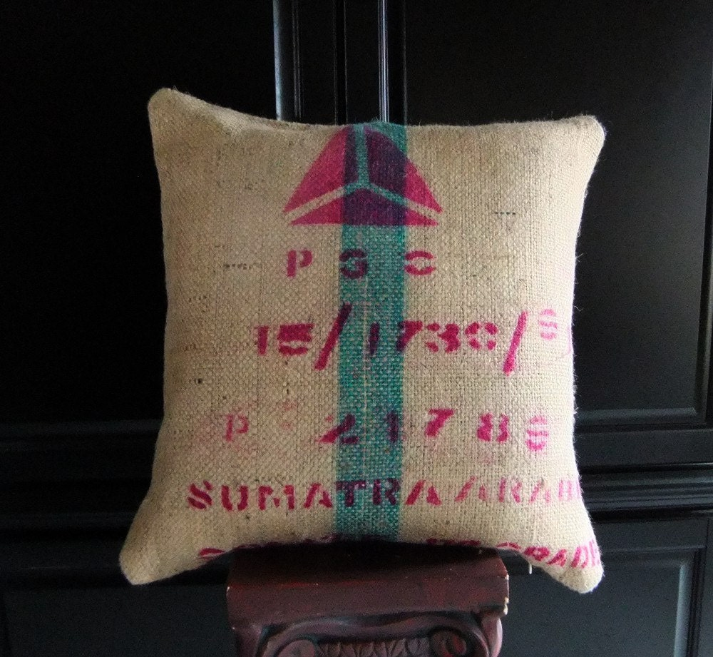 PGC Turquoise & Pink 20 inch Designer Upcycled Burlap Floor Pillow