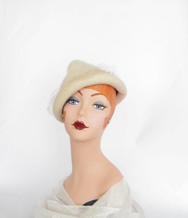 vintage pyramid hat, rolled brim cloche - TheVintageHatShop