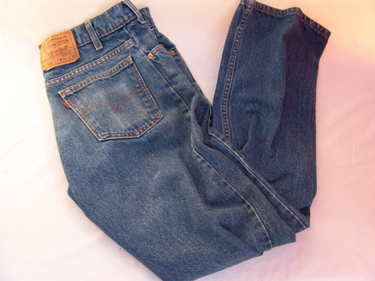 Vintage Levis 517 Denim Blue Jeans 33 x 30 Great Fade