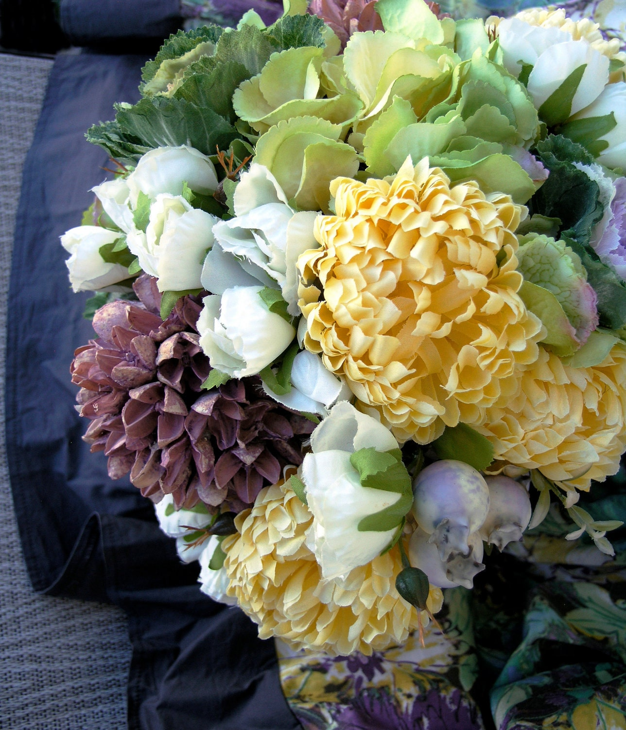 Butter Yellow Chrysanthemums Lilac Cabbage Garden Roses Lush Bridal Bouquet - ExpressionsFloral