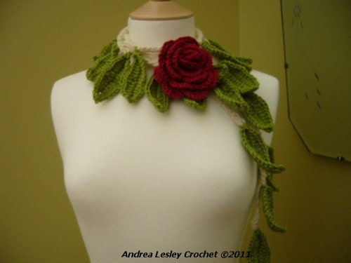 Lariat Scarf Necklace in Crochet with a Red Rose and Green Leaves (Made to Order)