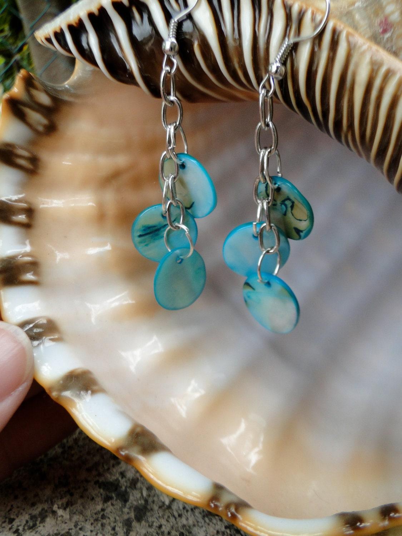 Jamaican Turquoise Shell Dangle Earrings - Mother of Pearl Earrings - 2 1/2 inch Dangle Earrings