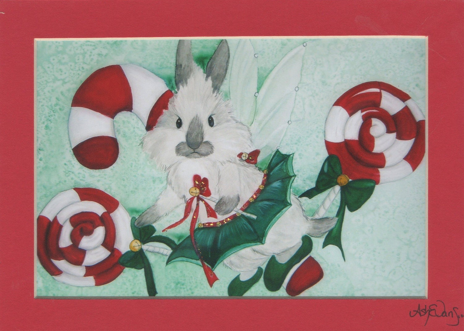 Fairy rabbit fantasy art  5x7 matted print signed by artist