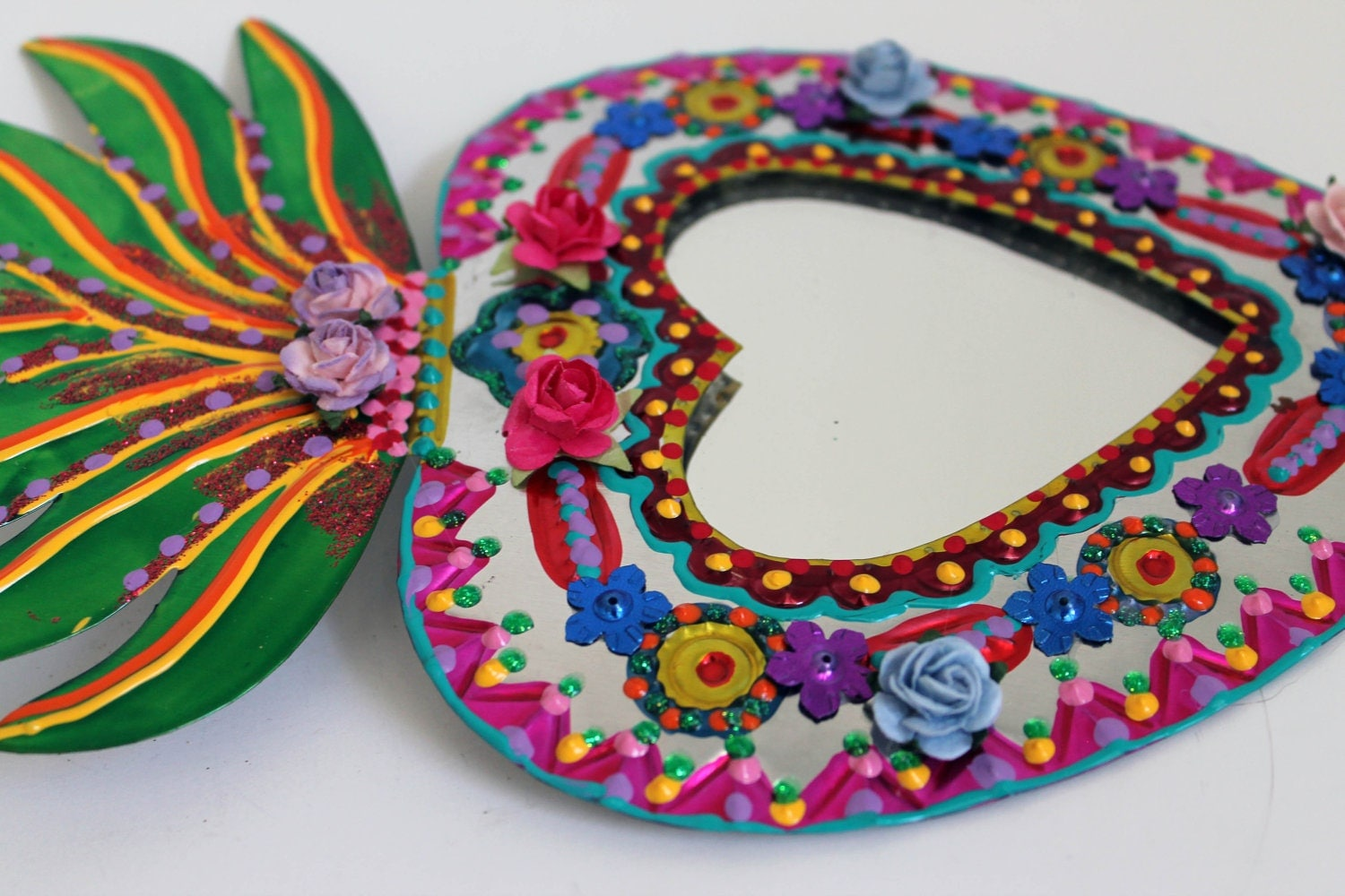 Sacred Heart tin metal mirror / Mexican folk art / bright colorful mixed media / rainbow silver / wedding gift