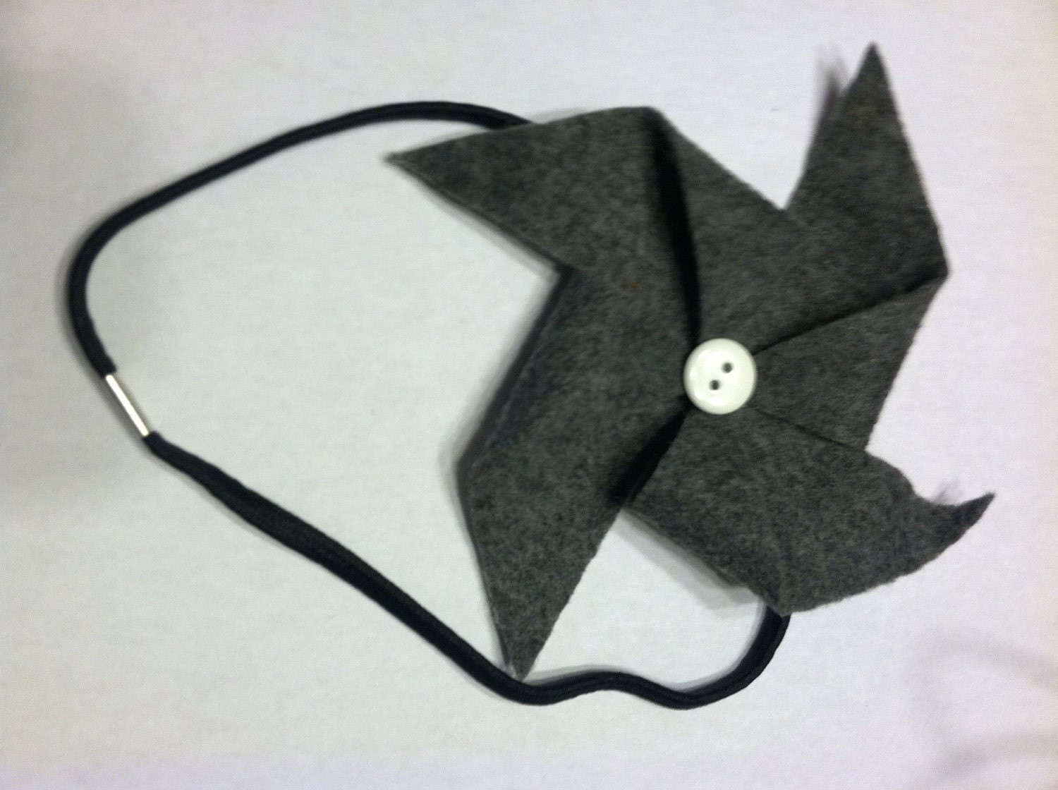 Grey, Black and White Felt Pinwheel Headband
