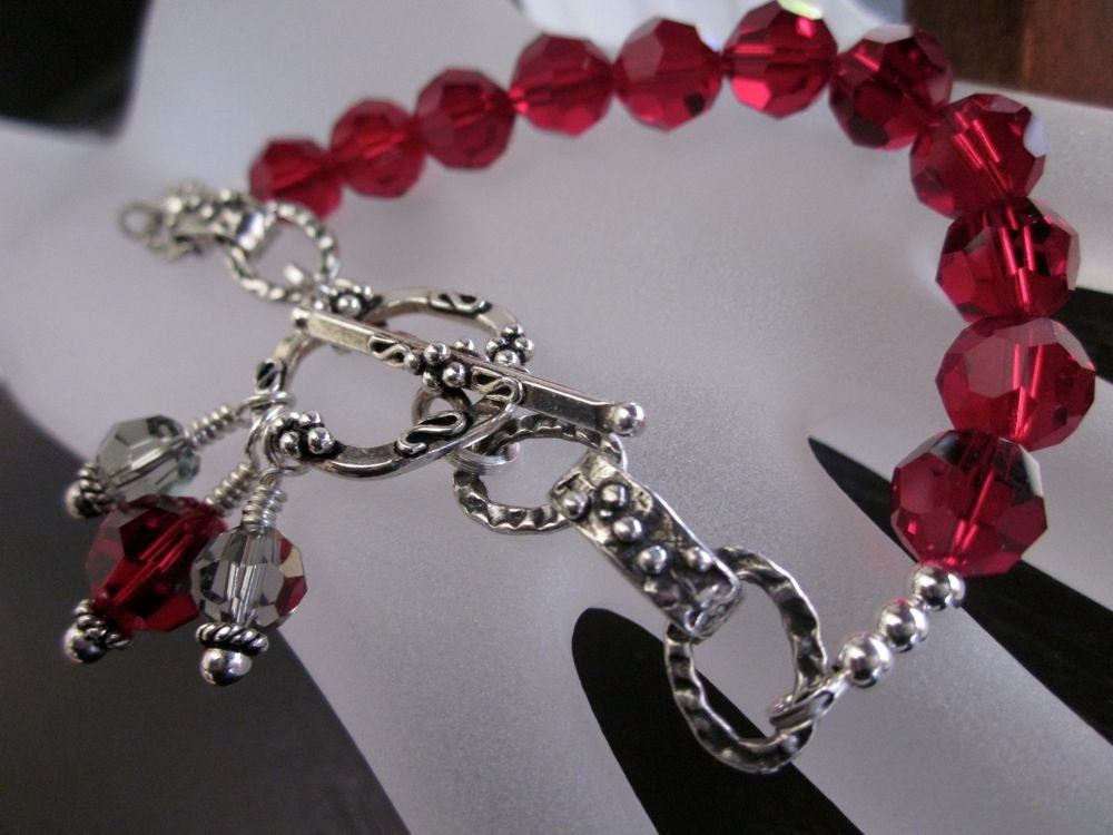 Antiqued Sterling Silver, Swarovski Crystal-Tough Love In Crimson Bracelet
